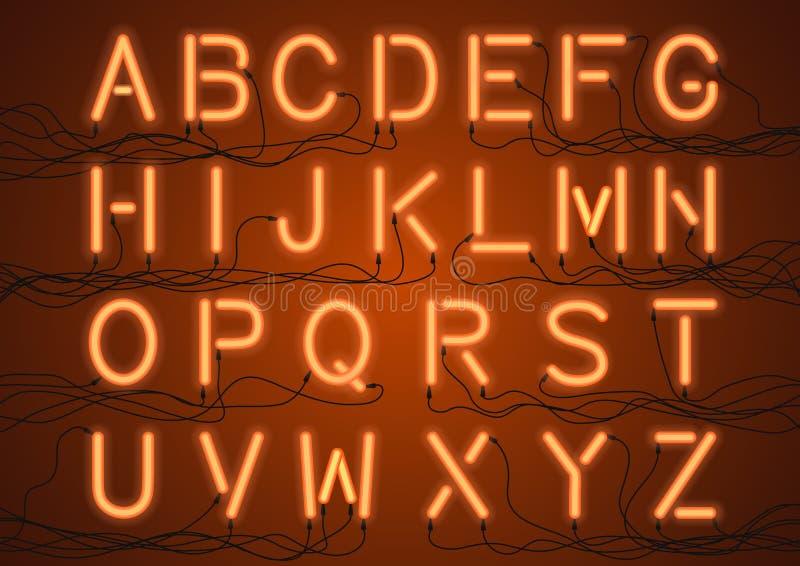 Rozjarzone Neonowe żarówki z drutami łączącymi ilustracja wektor