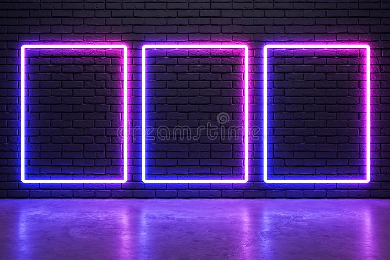 Rozjarzone neonowe ramy ilustracja wektor