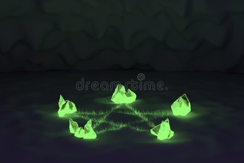 Rozjarzonego kryształu pentacle magiczny symbol fotografia stock