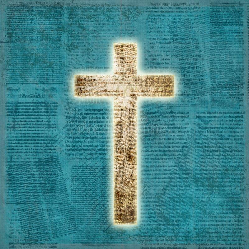 Rozjarzony święty krzyż na papierowym tle ilustracji