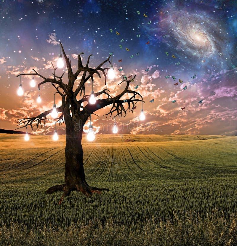 Rozjarzony żarówki drzewa zmierzch ilustracja wektor