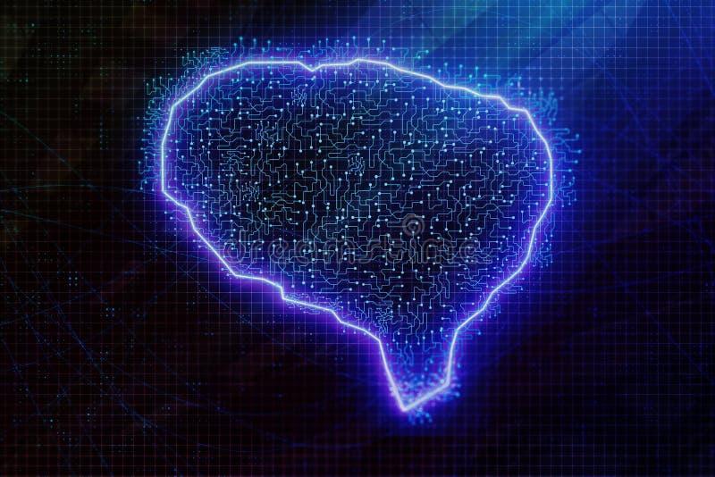 Rozjarzony błękitny mózg royalty ilustracja