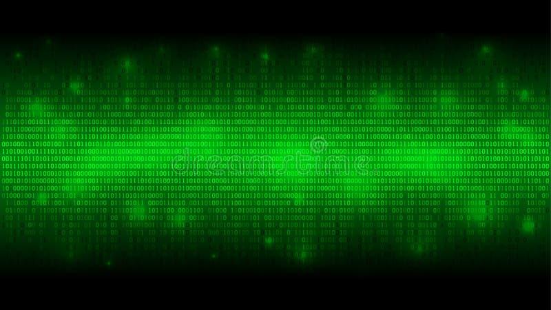 Rozjarzony binarny kod, matrycy zielony abstrakcjonistyczny tło, chmura duzi dane, strumień informacja ilustracji