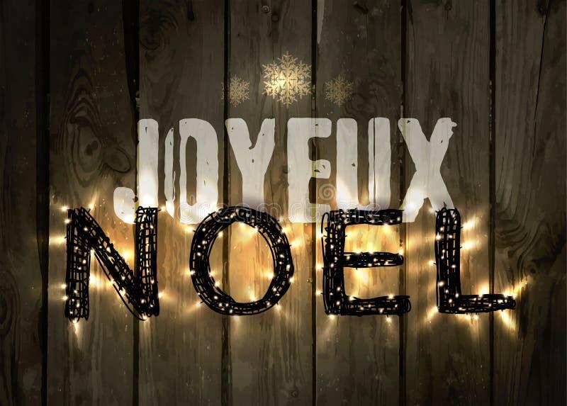 Rozjarzony bożego narodzenia słowo NOEL robić dowodzeni światła ilustracji