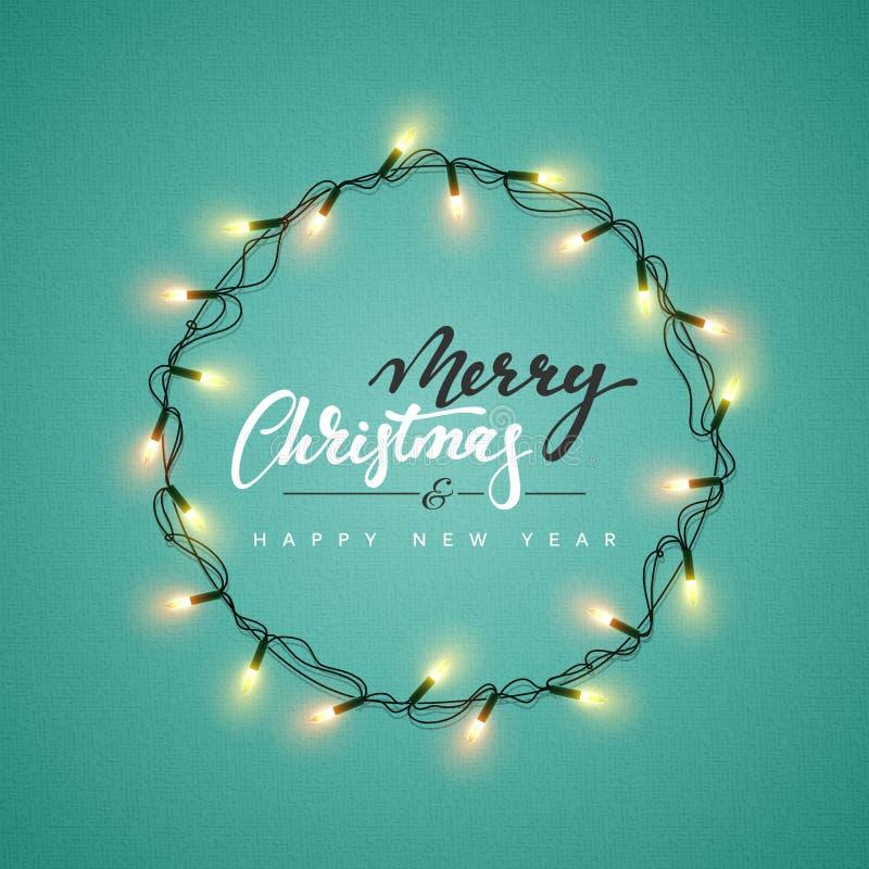Rozjarzony bożonarodzeniowe światła wianek dla Xmas kartka z pozdrowieniami Wakacyjnego projekta ilustracja wektor