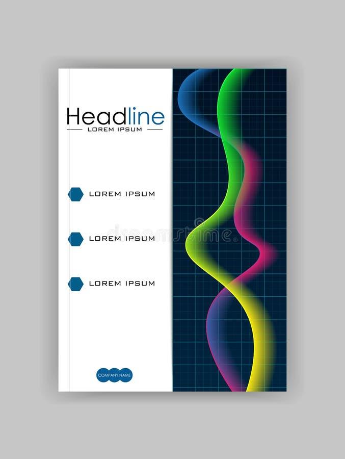 Rozjarzony diagram książkowej pokrywy projekt z colourful fala royalty ilustracja