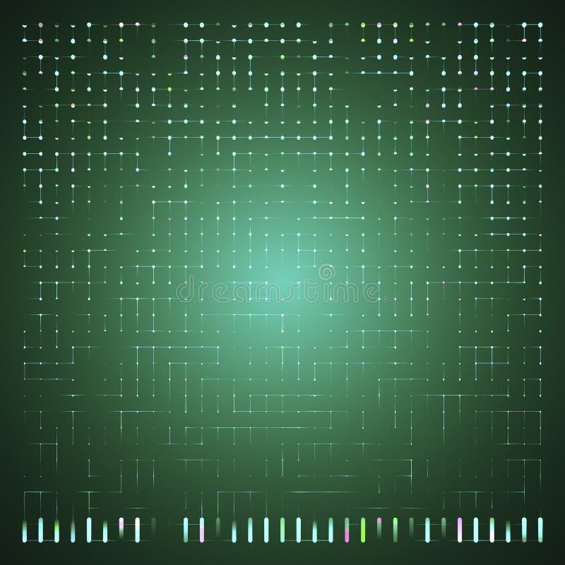 Rozjarzony Energetyczny przepływ Przez obwód deski dyrygentów Lub Neural powierzchni ilustracja wektor