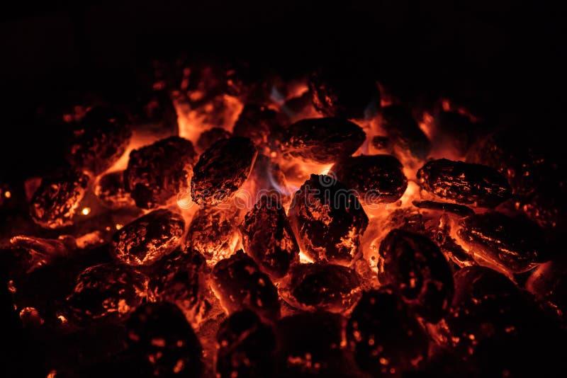Rozjarzony Gorący węgiel drzewny Brykietuje na ogrodowym grillu, zakończenie, zdjęcia royalty free