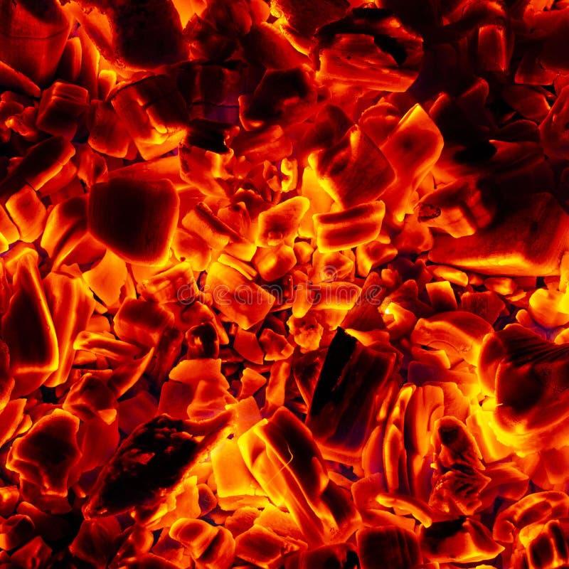 Rozjarzony Gorący węgiel drzewny Brykietuje zakończenia tła teksturę fotografia royalty free