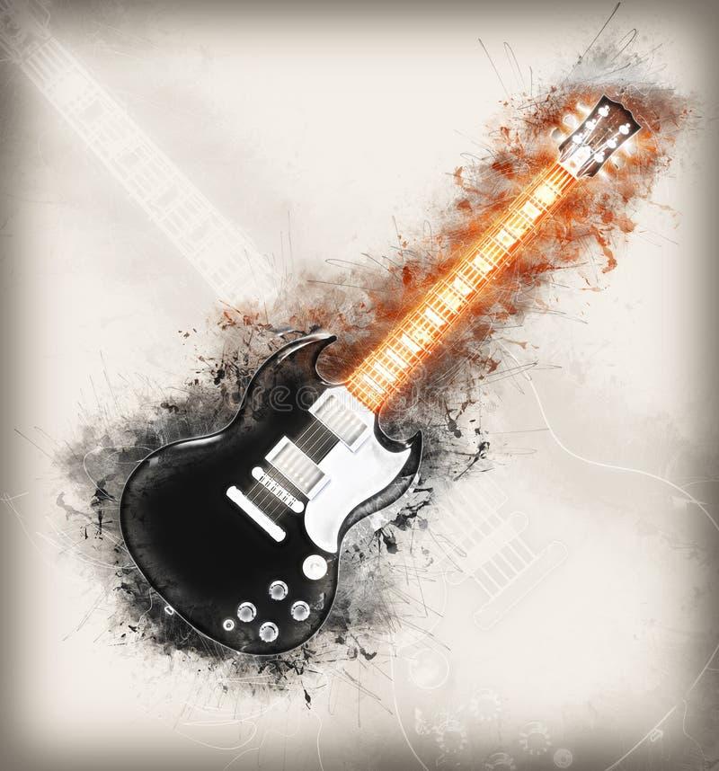 Rozjarzony hard rock gitary rysunek ilustracji
