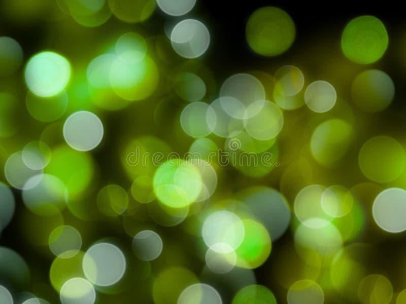Rozjarzony jaskrawy - zielony round zamazujący zaświeca abstrakcjonistycznego nocy tło obrazy royalty free