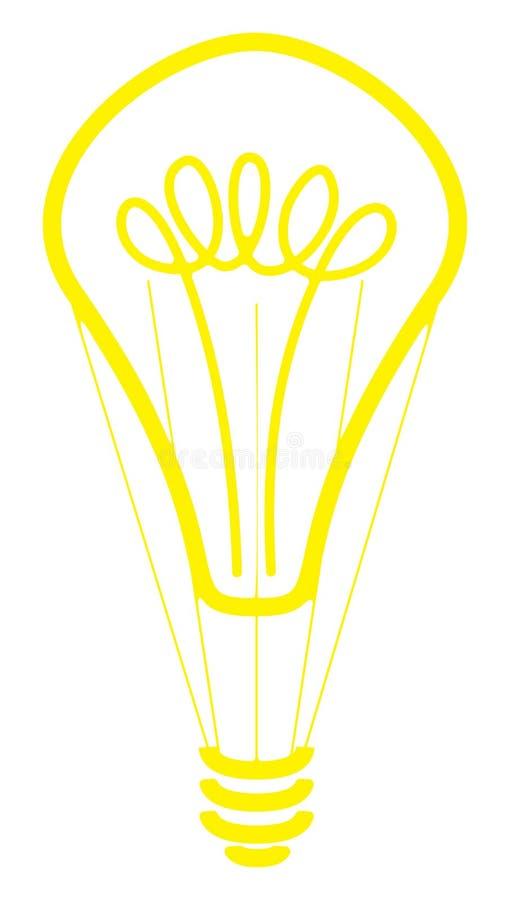 Rozjarzony lightbulb gorącego powietrza balon ilustracja wektor