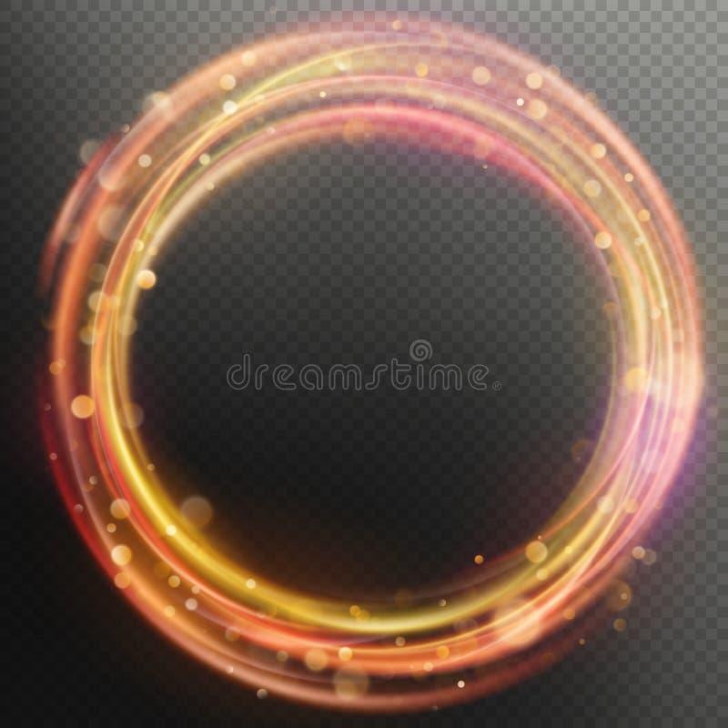 Rozjarzony magiczny racy ogienia pierścionku okręgu śladu narzuty skutek 10 eps royalty ilustracja