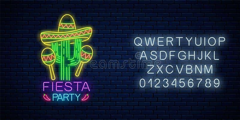 Rozjarzony neonowy fiesta wakacje znak z abecad?em Meksyka?ski festiwal ulotki projekt z marakasami, sombrero kapeluszem i kaktus