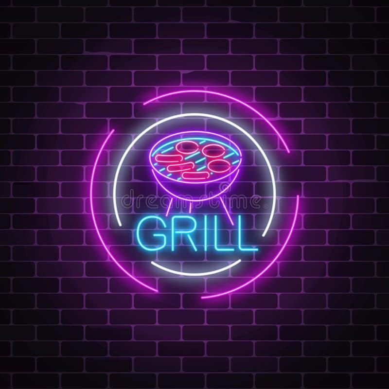 Rozjarzony neonowy grill podpisuje wewnątrz okrąg ramy na ciemnym ściana z cegieł tle Grilla cukierniany reklamowy symbol royalty ilustracja
