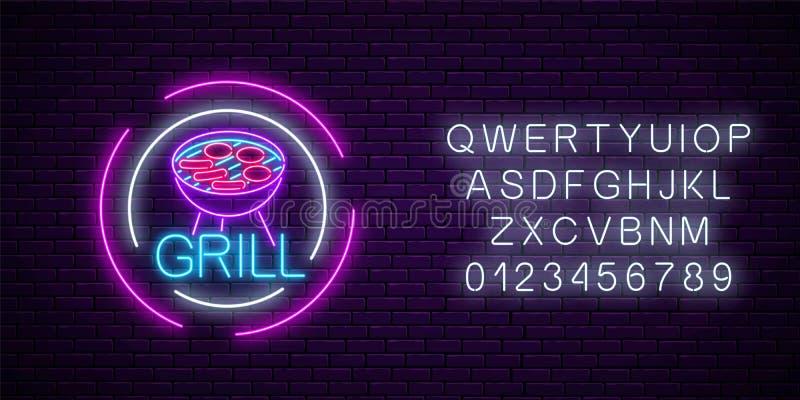Rozjarzony neonowy grill podpisuje wewnątrz okrąg ramy z abecadłem Grill nocy ulicy cukierniany reklamowy symbol ilustracji