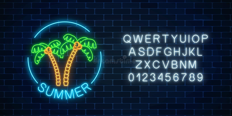Rozjarzony neonowy lato znak z dwa palmami, tekstem w round ramie i abecadłem, Błyszczący lato symbol z listami ilustracja wektor