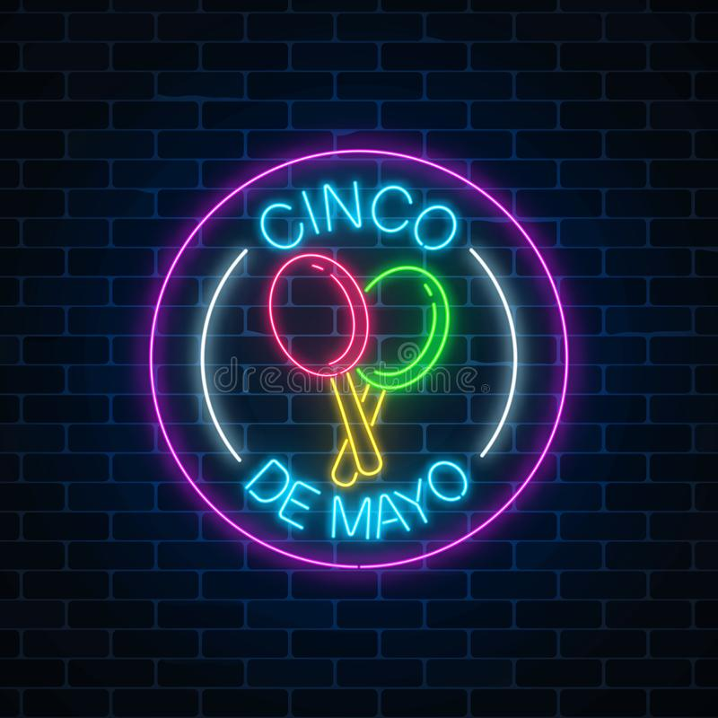Rozjarzony neonowy sinco de Mayo wakacje podpisuje wewnątrz okrąg ramy na ciemnym ściana z cegieł tle Meksykański festiwal ulotki ilustracja wektor