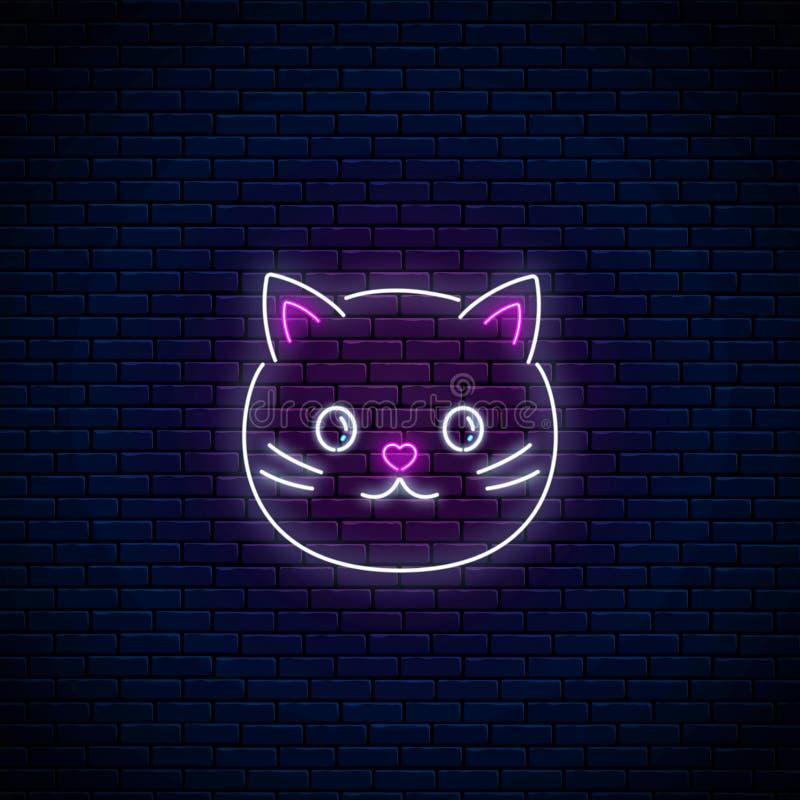 Rozjarzony neonowy znak śliczny kot w kawaii stylu Kreskówki szczęśliwa uśmiechnięta kiciunia w neonowym stylu royalty ilustracja