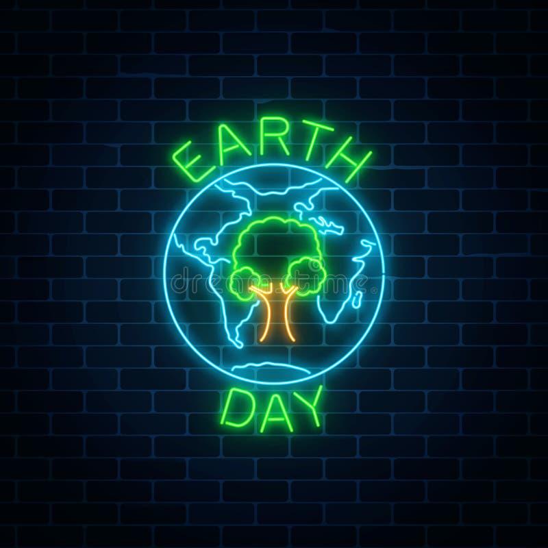 Rozjarzony neonowy znak światowy ziemski dzień z drzewem w kula ziemska symbolu i powitanie tekstem na ciemnym ściana z cegieł tl ilustracja wektor