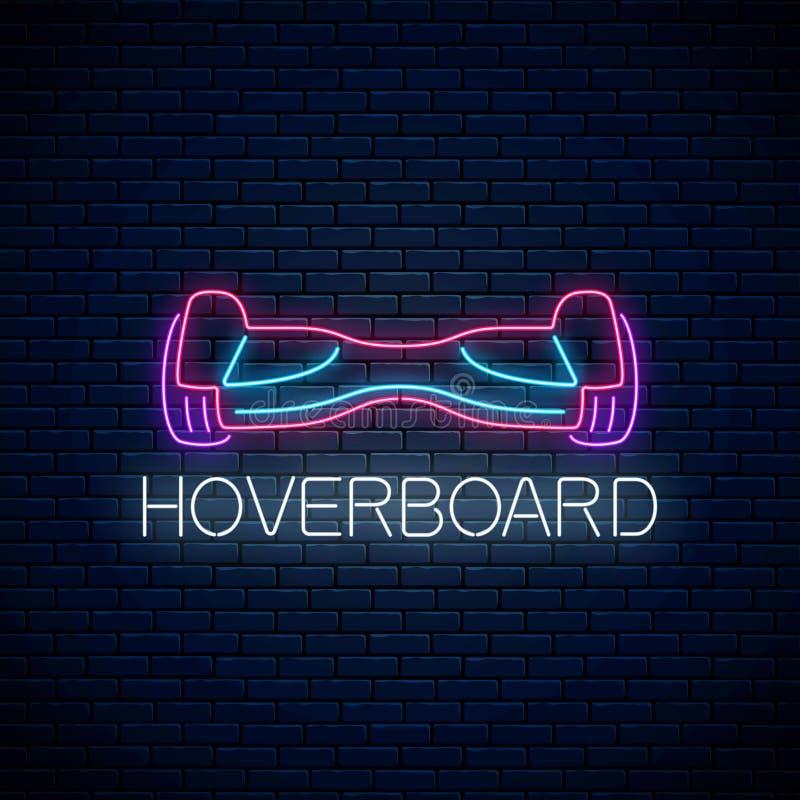 Rozjarzony neonowy znak elektryczny hoverboard Dwukołowy gyroscooter eco transport r?wnie? zwr?ci? corel ilustracji wektora ilustracji