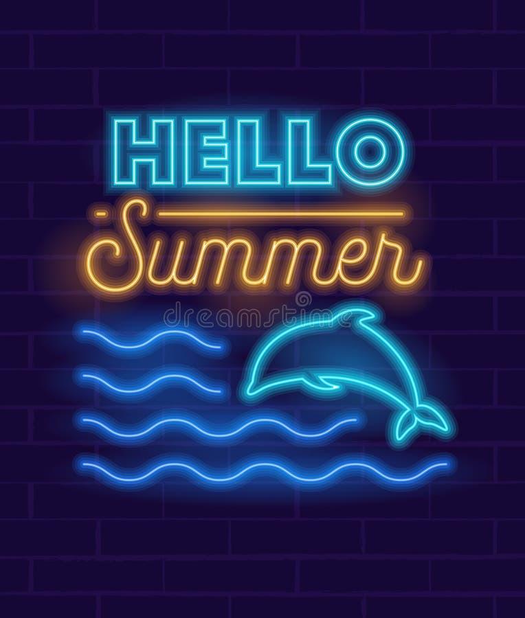 Rozjarzony Neonowy znak lub logo dla dekoracji lato Zaczynamy przyjęcia z Rozjarzonym delfinu doskakiwaniem w ocean falach dla kl ilustracji