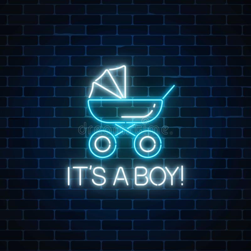 Rozjarzony neonowy znak z gratulacjami na narodziny chłopiec Dziecko frachtu symbol ilustracja wektor