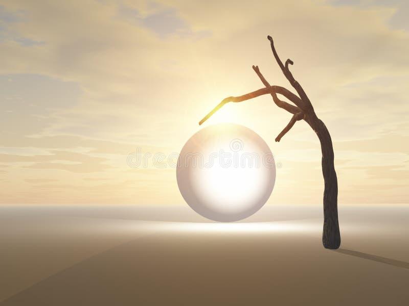 Rozjarzony okrąg i samotny drzewo ilustracja wektor