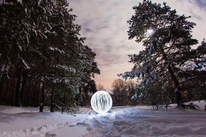 Rozjarzony okrąg w zimy sosny lesie zdjęcia stock