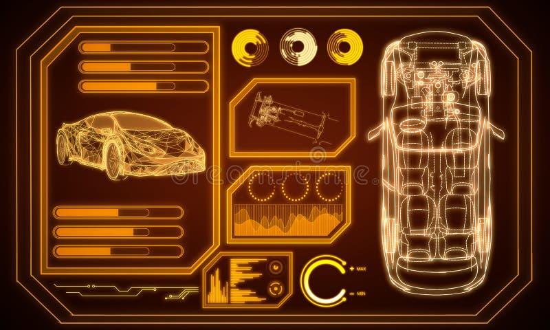 Rozjarzony pomarańczowy samochodowy interfejs royalty ilustracja