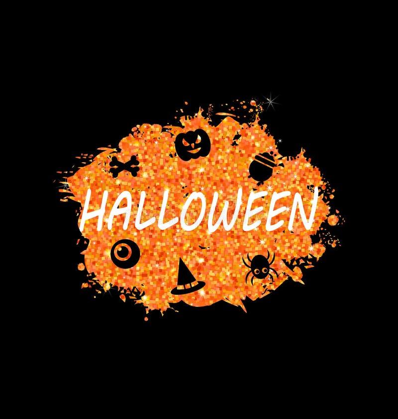 Rozjarzony Pomarańczowy szablon dla Szczęśliwego Halloween przyjęcia ilustracji