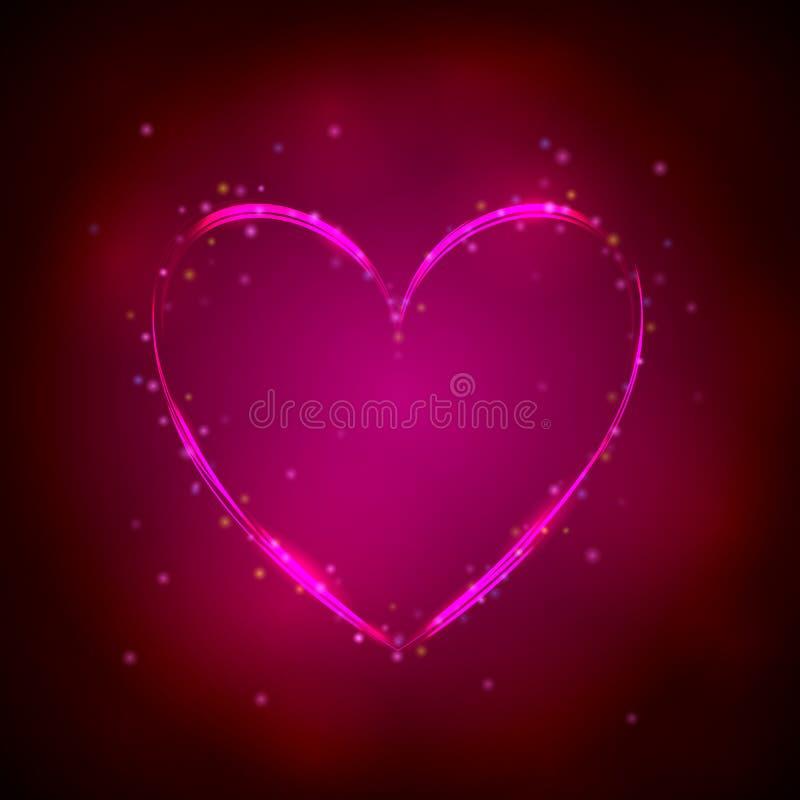 Rozjarzony różowy serce na ciemnym tle royalty ilustracja