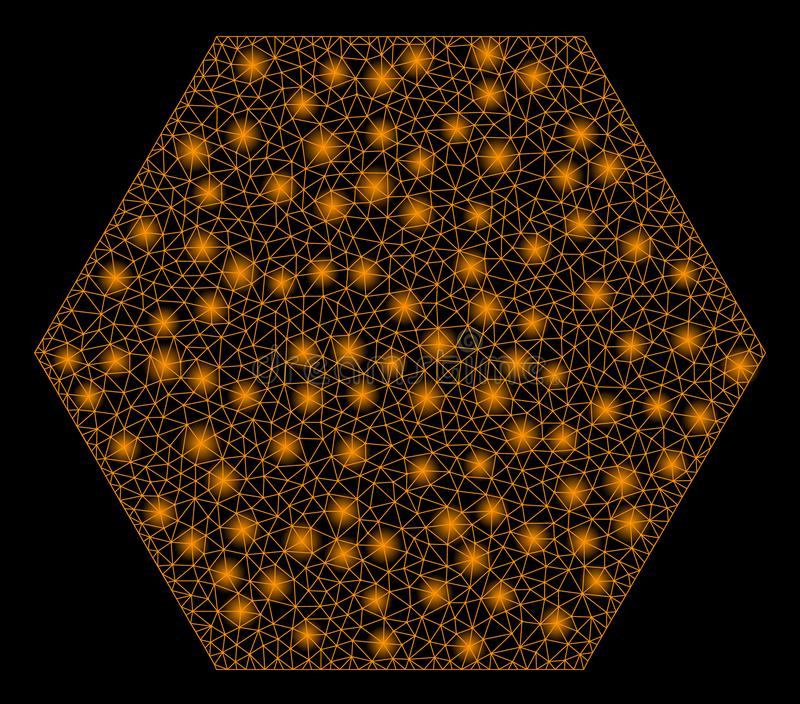 Rozjarzony siatki sieci Wypełniający sześciokąt z Lekkimi punktami ilustracja wektor