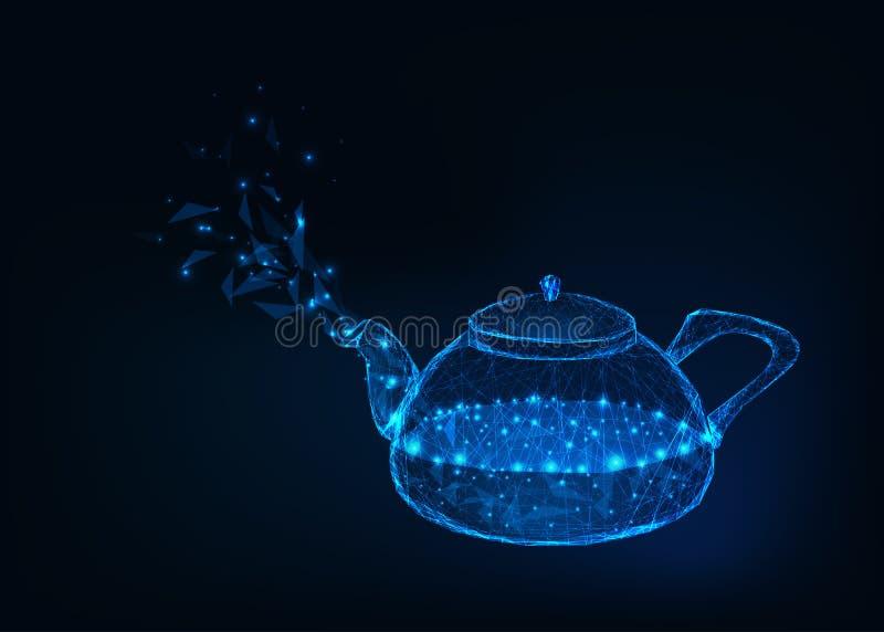 Rozjarzony szklany czajnik z wrzącą wodą i kontrparą odizolowywającymi na zmroku - błękitny tło ilustracji