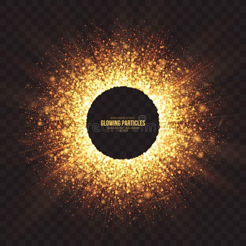 Rozjarzony Złoty cząsteczka wybuchu skutka wektoru tło ilustracja wektor
