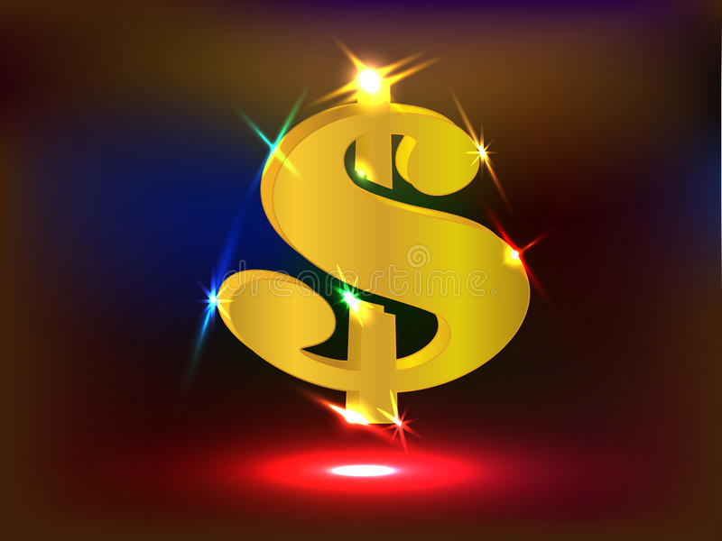 Rozjarzony Złoty dolara amerykańskiego znak z światłami reflektorów ilustracja wektor