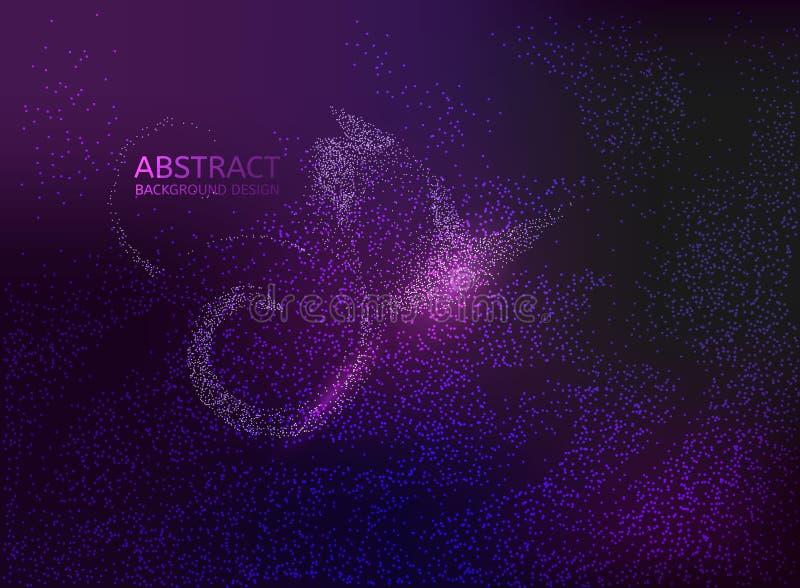 Rozjarzonych cząsteczek ciekły dynamiczny przepływ Modny okładkowy projekt wektor ilustracji