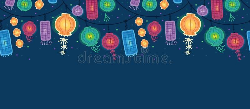 Rozjarzonych lampionów horyzontalny bezszwowy wzór ilustracji