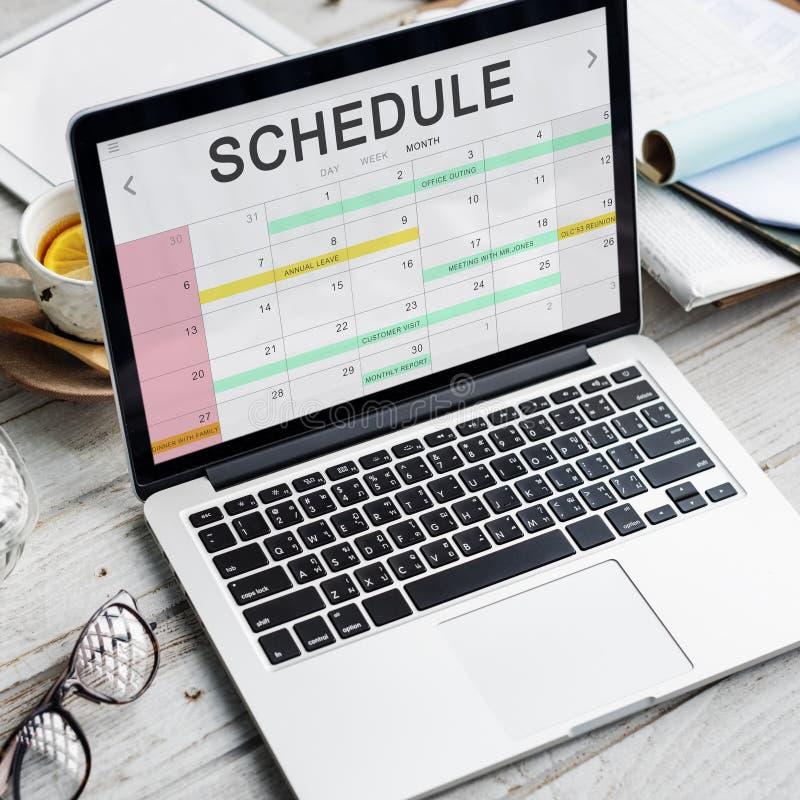 Rozkład aktywności kalendarza spotkania pojęcie zdjęcie stock