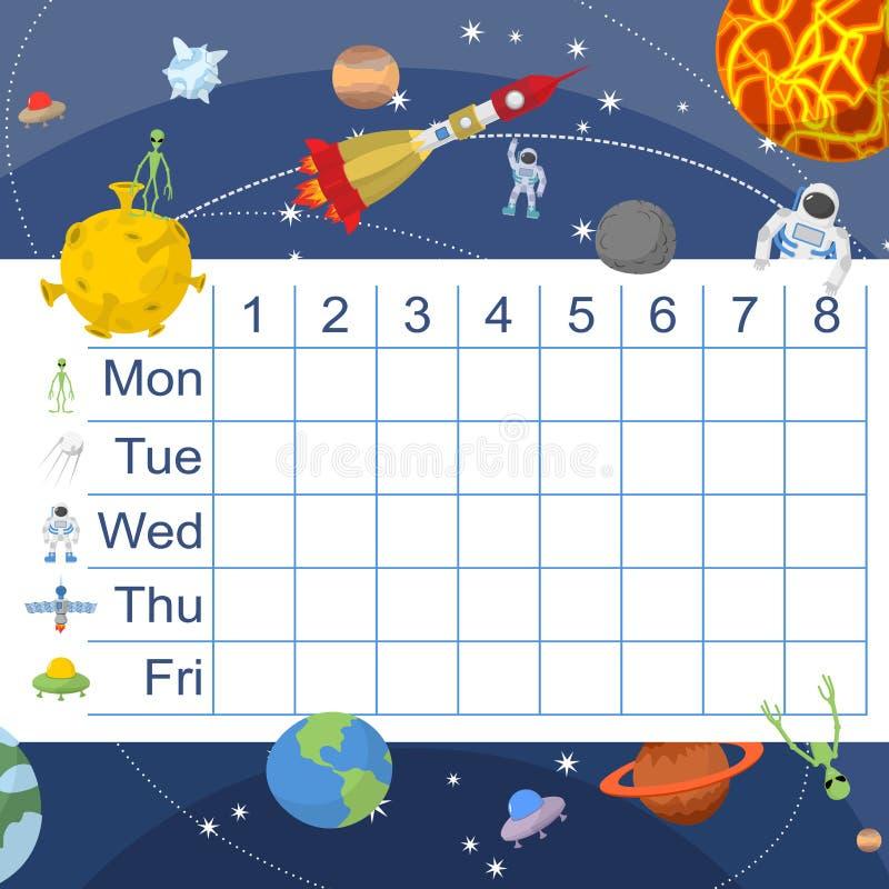 Rozkład dla uczni Stół z lekcjami dla dzieci Astronautyczny de royalty ilustracja