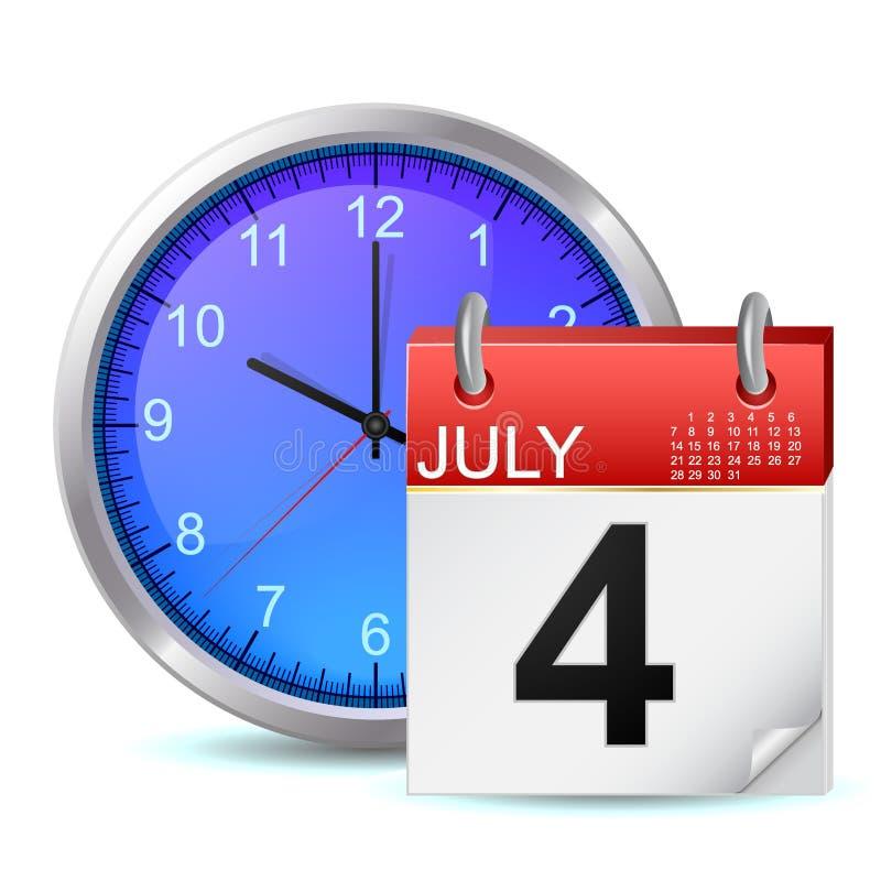 Rozkład ikona - biuro zegar z kalendarzem ilustracji