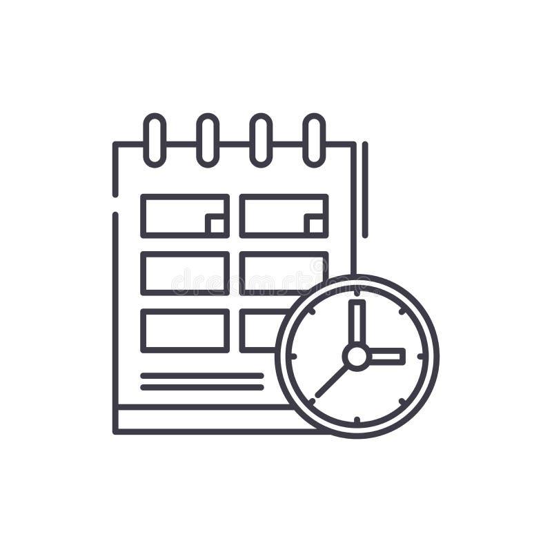 Rozkład ikony kreskowy pojęcie Planuje wektorową liniową ilustrację, symbol, znak royalty ilustracja