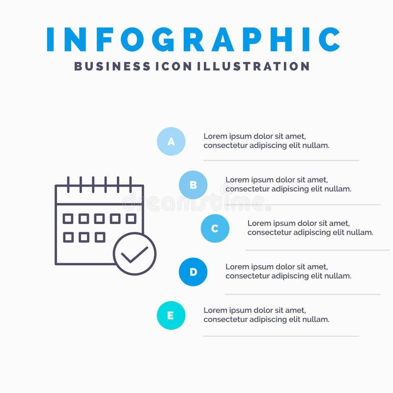 Rozkład Kalendarzowy, Zatwierdzony, Biznesowy, wydarzenie, plan, Planuje Kreskową ikonę z 5 kroków prezentacji infographics tłem ilustracji