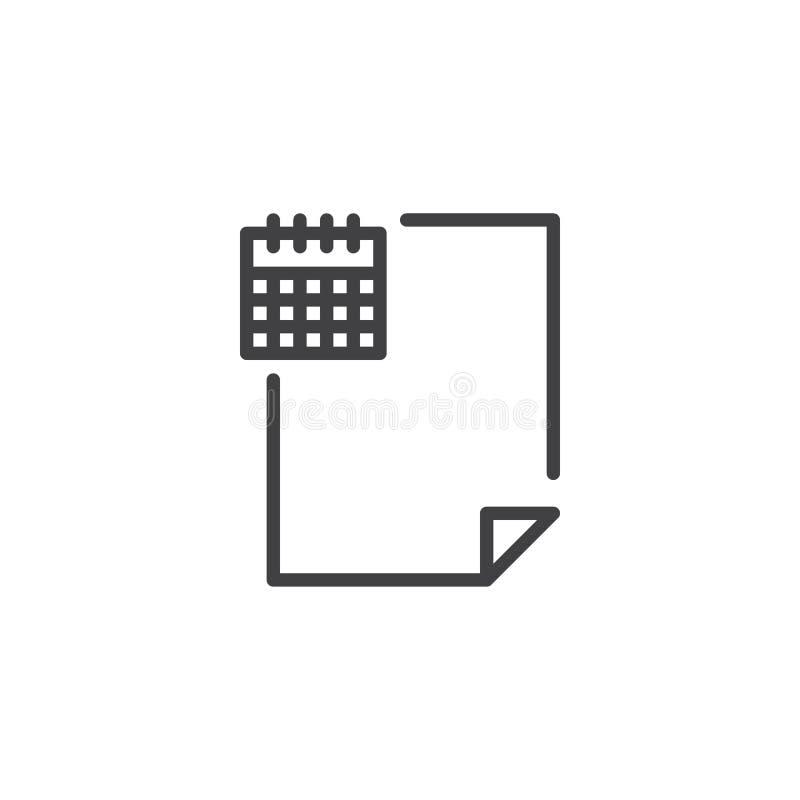 Rozkład kartoteki dokumentu konturu ikona royalty ilustracja