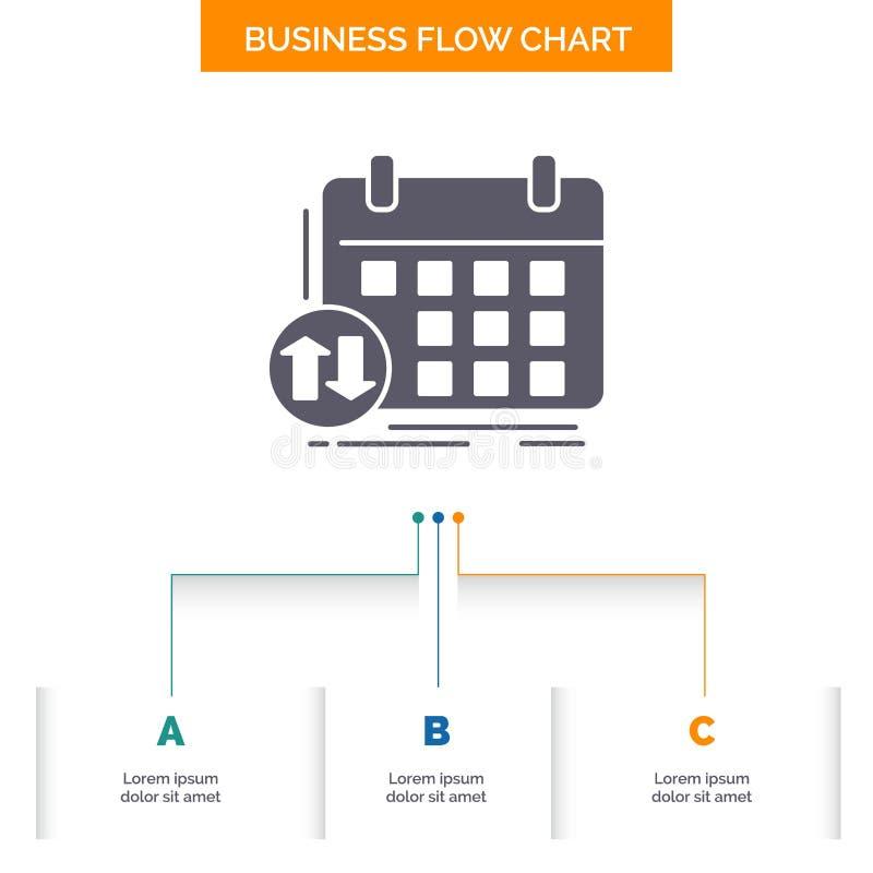 rozkład, klasy, rozkład zajęć, spotkanie, wydarzenie Spływowej mapy Biznesowy projekt z 3 krokami Glif ikona Dla prezentacji t?a ilustracja wektor