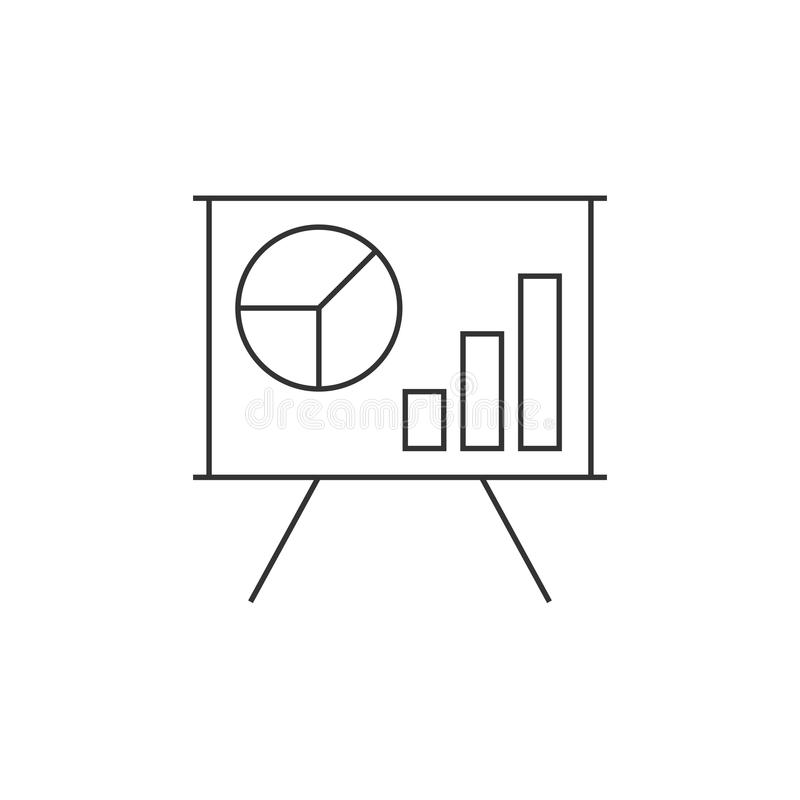Rozkład na whiteboard linii ikonie ilustracja wektor