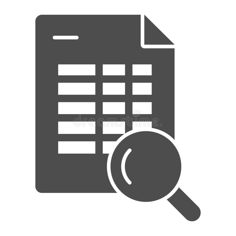 Rozkład rewizji bryły ikona Rozkład zajęć i magnifier wektorowa ilustracja odizolowywająca na bielu Rewizji agendy glifu styl ilustracja wektor