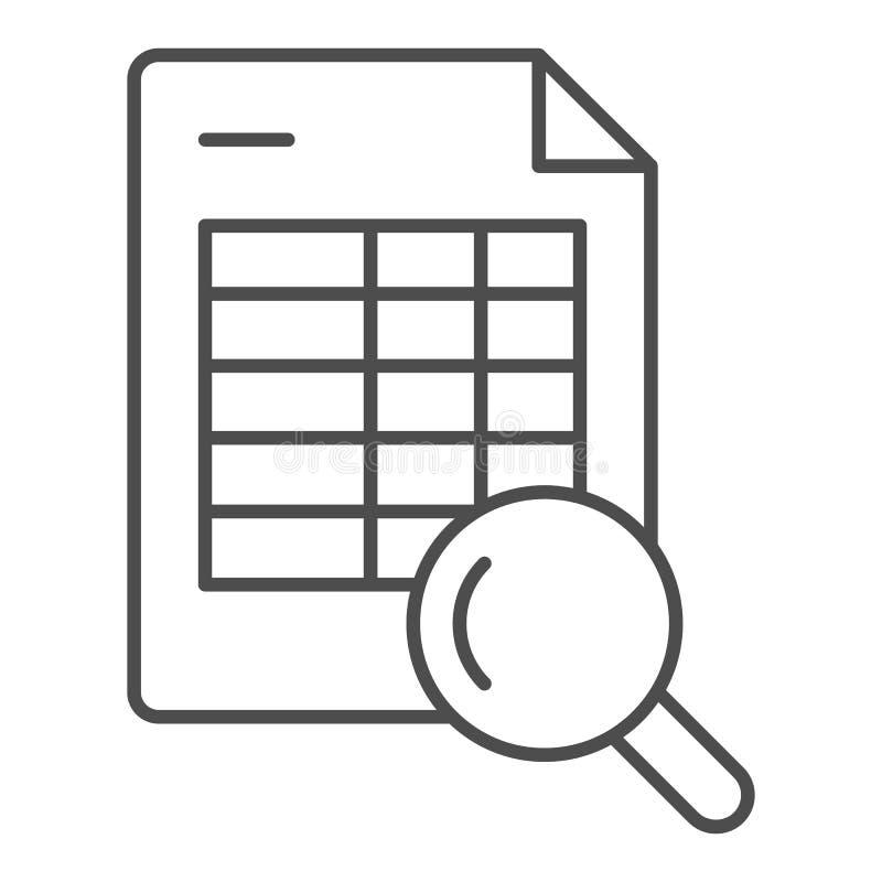 Rozkład rewizji cienka kreskowa ikona Rozkład zajęć i magnifier wektorowa ilustracja odizolowywająca na bielu Rewizji agendy kont ilustracji
