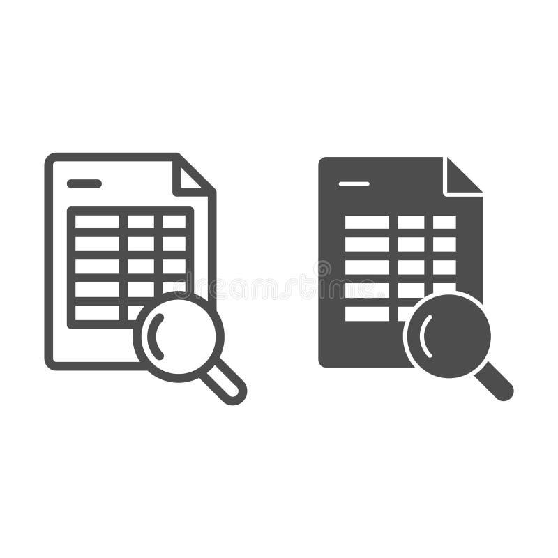 Rozkład rewizji linia i glif ikona Rozkład zajęć i magnifier wektorowa ilustracja odizolowywająca na bielu Rewizji agenda royalty ilustracja
