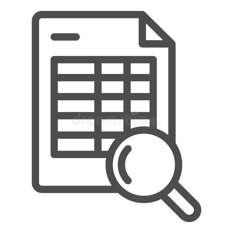Rozkład rewizji linii ikona Rozkład zajęć i magnifier wektorowa ilustracja odizolowywająca na bielu Rewizji agendy konturu styl ilustracji